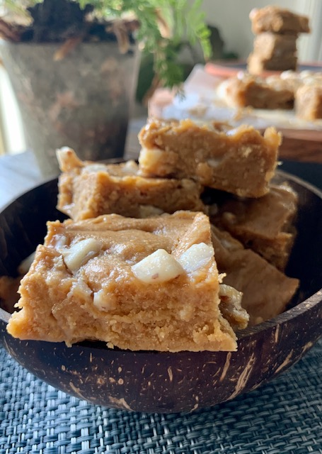 Gooey cream cheese blondie.